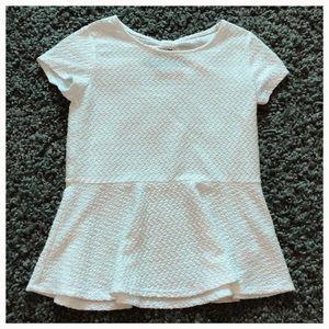 Girls white peplum shirt